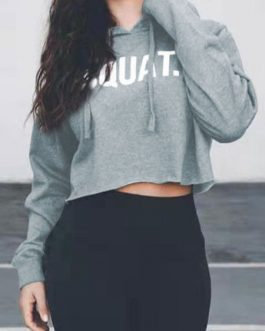 Cropped Long Sleeves Letters Print Hooded Sweatshirt