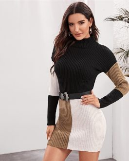 Cut and Sew Stand Collar Knitted Straight Bodycon Sweater Dress