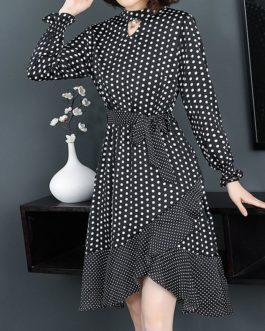 Dotted Elegant Ruffles Mini Dress