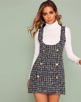 Double Button Tweed Plaid Sleeveless Preppy Cute Short Dress