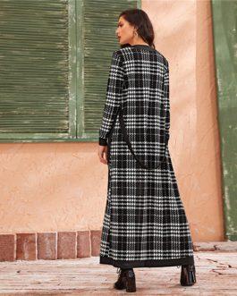 Double Pocket Side Belted Streetwea Long Coat And Pants Elegant Set