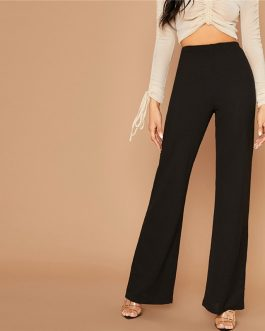 Elastic Waist Loose Office Ladies Stretchy Long Trousers