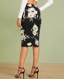 Elastic Waist Office Lady Floral Print Pencil Skirt