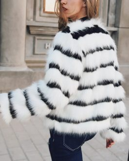 Plus size Elegant Striped Faux Fur Warm Jacket