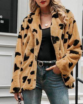 Elegant Faux Fur Soft Heart Print Casual Warm oversize Coat
