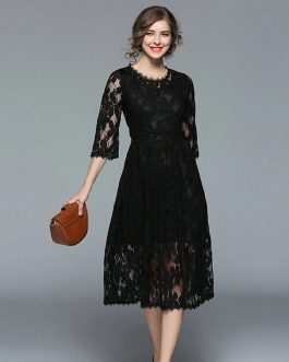 Elegant High Quality Lace Long Dress