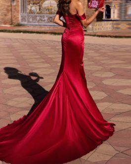 Sexy Off Shoulder Elegant High Split Backless Maxi Dress