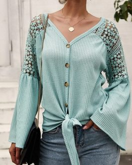 Elegant  Sexy v-neck Lace Stitching Loose Sleeve Office Top Shirt