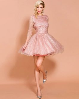 Elegant Pleated Backless Glitter Dress