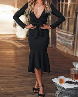 Elegant Ruffled Sash Sexy Deep V-Neck Long Sleeve knitted Party Dress