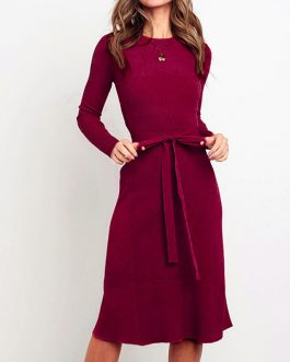 Elegant A-line long sleeve strap O-neck Sweater Dress