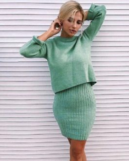 Elegant Two Pieces Knitted Work Wear Sweater Suit