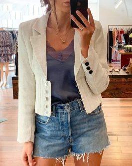 Fashion buttons Long sleeve high waist female blazer