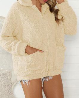 Faux Fur Long Sleeve Coat