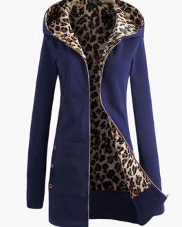 Fleece Hoodie Sport Jacket Leopard Zippered Coat