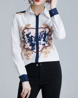 Floral Print Buttons Long Sleeves Shirt