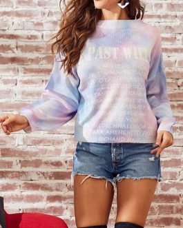 Letter Print Jewel Neck Long Sleeves Acrylic Pullover Sweater