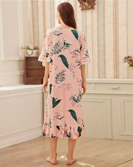 Floral Print Ruffle Lace Trim Sleeve Hem Night Dress