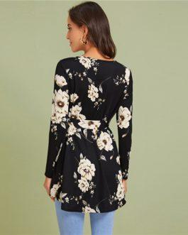 Floral Print Self Belted Dip Hem Elegant Tops and Blouses
