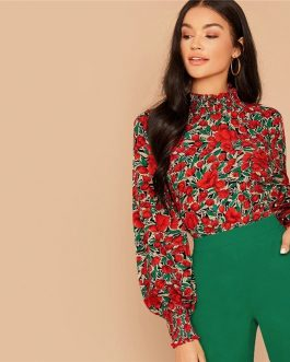 Floral Print Stand Collar Bishop Sleeve Button Back Blouses And Tops