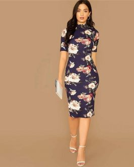 Floral Print Stand Collar Short Sleeve Elegant Bodycon Dress