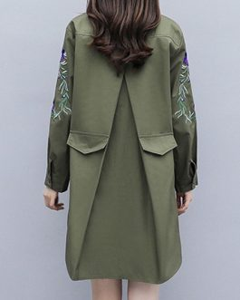 Floral Print Turndown Collar Embroidered Casual Layered Wrap Coat