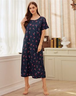 Fruit And Vegetable Print Short Sleeve Cute Night Dress