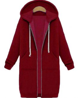Full Zip Long Sleeves Cotton Longline Hooded Jacket