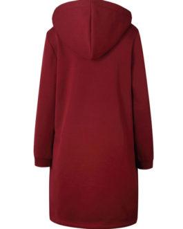 Full Zip Long Sleeves Cotton Longline Hooded Jacket