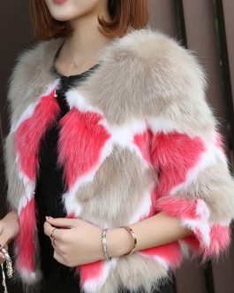 Geometric Jewel Neck Fur Leather Coat
