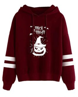 Halloween Pullover Long Sleeves Pumpkin Print Cotton Hooded Sweatshirt