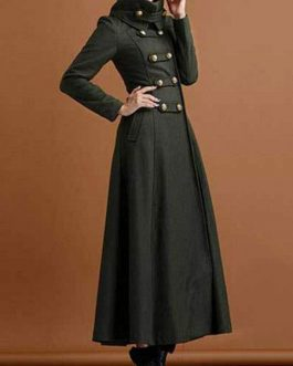 High Collar Buttons Casual Oversized Outerwear Maxi Coat