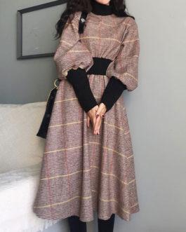 High Collar Long Sleeve Swing Dress