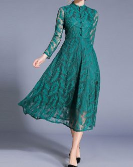 High Collar Long Sleeves Layered Lace Retro Dresses