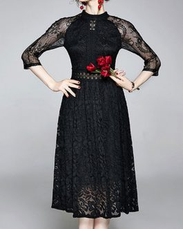 High Collar Retro Floral Print Lace Dresses