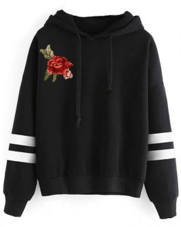 Hooded Long Sleeve Embroidered Drawstring Cotton Pullover Sweatshirt