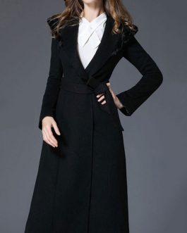 Hooded Long Sleeves Lace Up Oversized Casual Woolen Coat