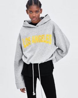 Hooded Sweatshirt Long Sleeve Drawstring Letters Print Pullover Top
