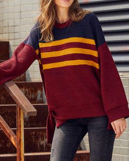 Hoodie Long Sleeves Stripes Sweatshirt