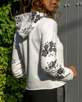 Hoodies Long Sleeve Drawstring Floral Print Oversized Pullover