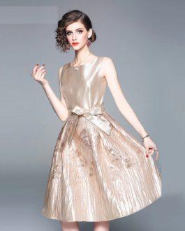 Jacquard Elegant Sleeveless Short Dress