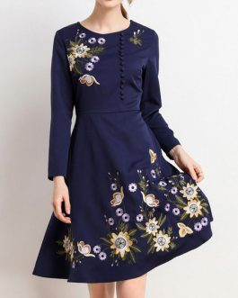 Jewel Neck Long Sleeves Buttons Retro Fit And Flare Mini Dress