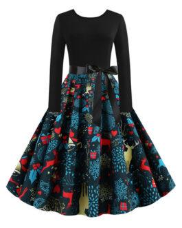Jewel Neck Long Sleeves Christmas Pattern Rockabilly Retro Dress