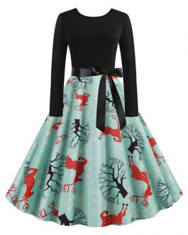 Jewel Neck Long Sleeves Christmas Pattern Rockabilly Vintage Dress