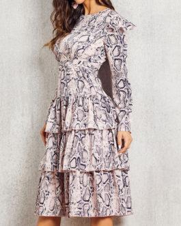 Jewel Neck Long Sleeves Printed Casual Skater Dresses