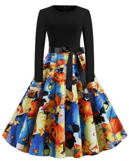 Jewel Neck Printed Rockabilly Dress
