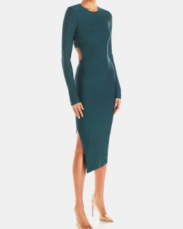 Jewel Neck Split Front Long Sleeves Layered Semi Formal Party Dresses