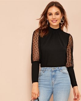Leg-of-mutton Sleeve Keyhole Back Solid Stand Collar Blouses and Tops