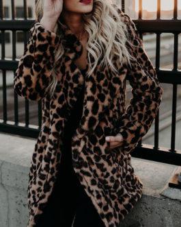 Leopard Long Sleeves Leopard Print Oversized Faux Fur Coats