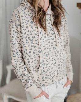 Leopard Print Hoodie Long Sleeves Pockets Hooded Sweatshirt